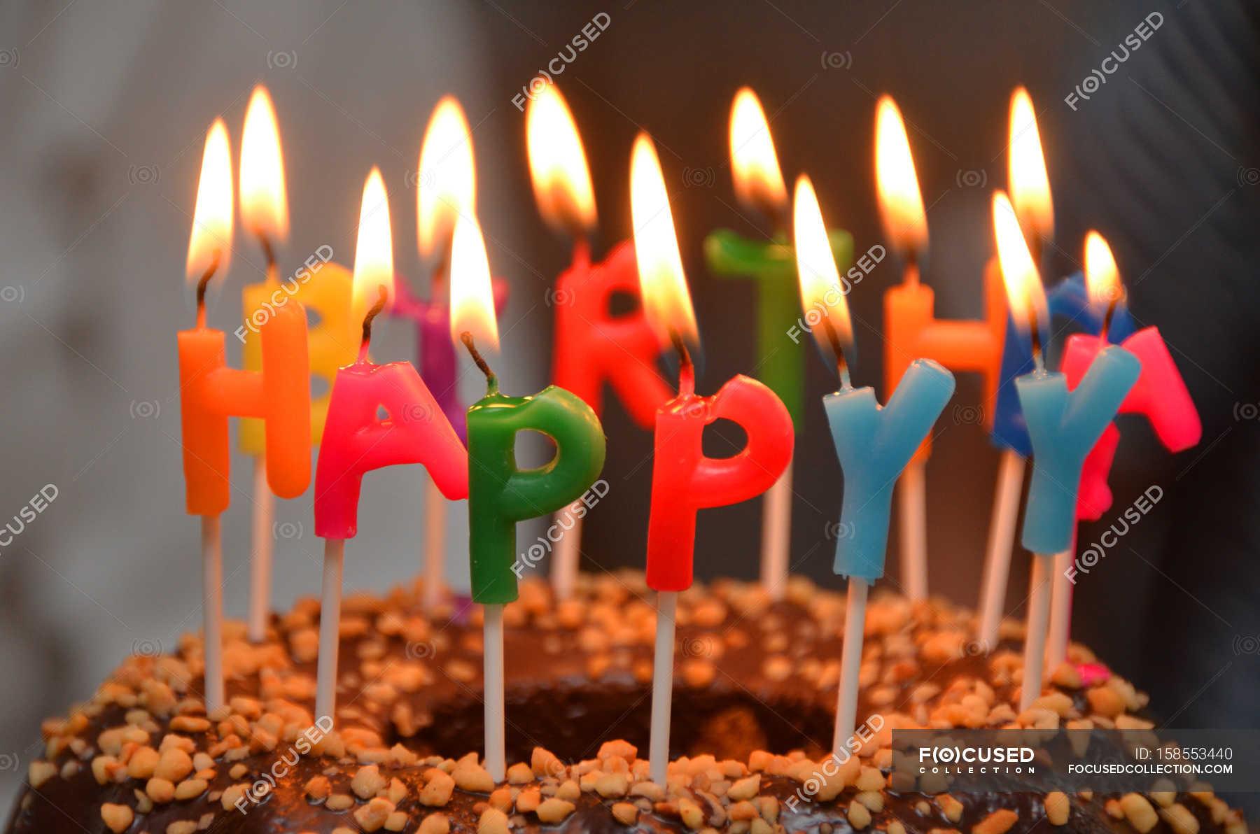 Cake With Burning Candles Happy Birthday Stock Photo 158553440