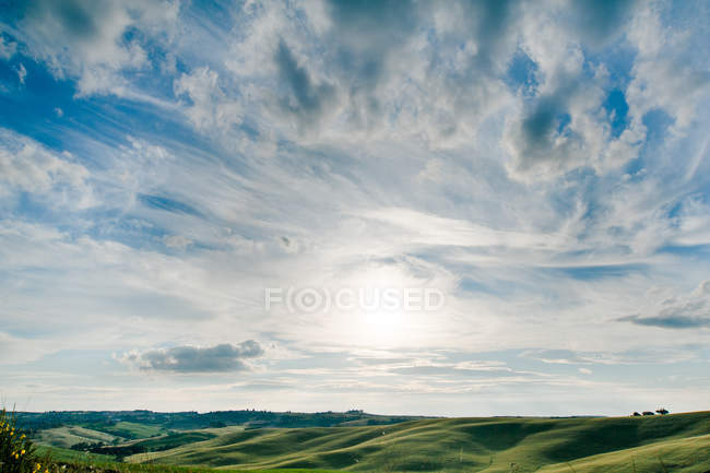 Пейзаж с видом на поле — стоковое фото