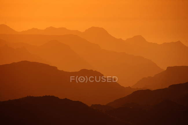 Scenic mountains landscape view at sunset, Gran Canary Islands — Stock Photo
