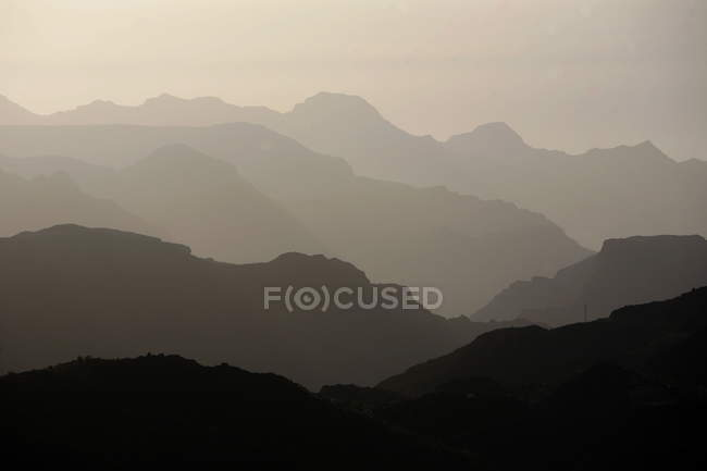 Scenic mountains landscape in haze, Gran Canary Islands — Stock Photo