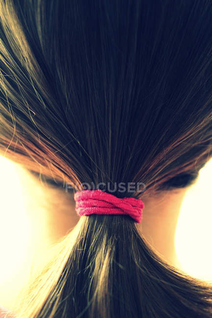 Partial view of woman head with ponytail — Stock Photo