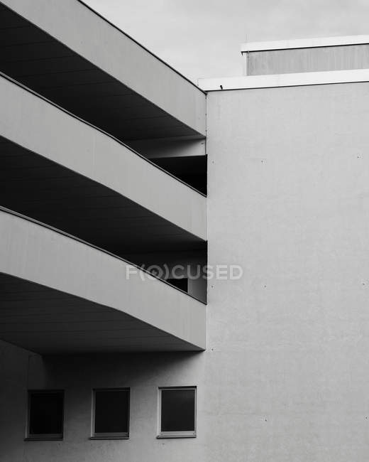 Modern architecture details of building facade, black and white — Stock Photo