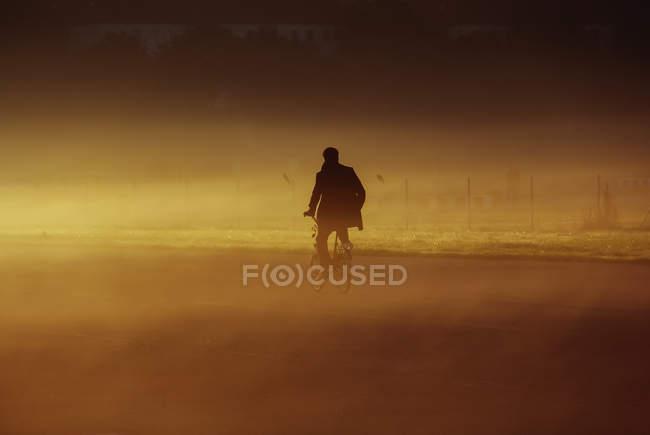 Vue arrière de l'homme, faire du vélo dans la poussière — Photo de stock
