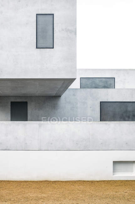 Exterior shot of white modern building facade — Stock Photo