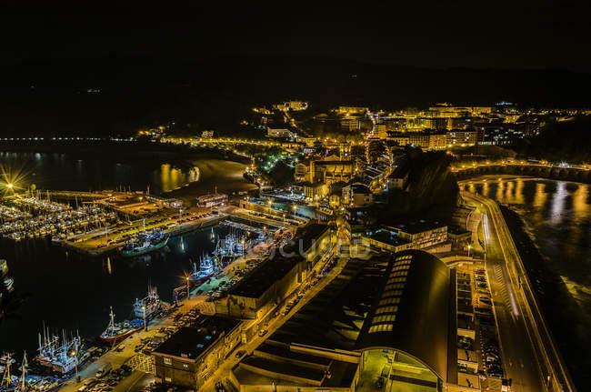 Night lights of Getaria cityscape, Spain — Stock Photo