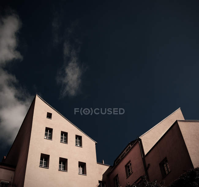 Daytime low angle view of tilted roofs of buildings in Bautzen — Stock Photo