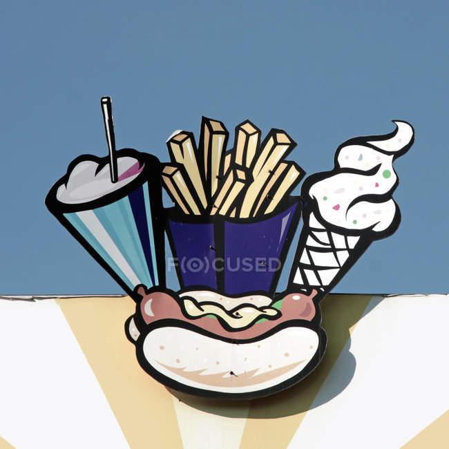Restauration rapide signe avec fries français — Photo de stock