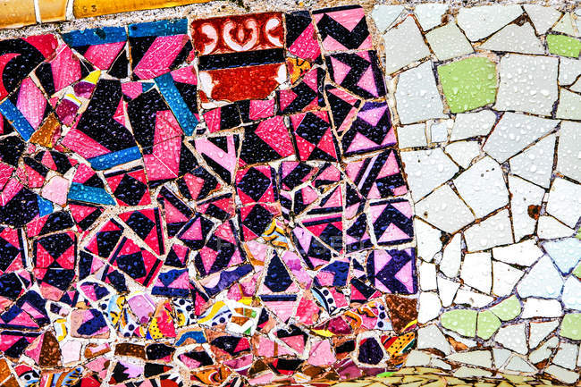 Colorful mosaic on wall surface, mural painting — Stock Photo
