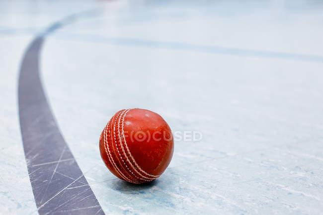 Червоний Шкіряний м'яч на полі крикет — стокове фото