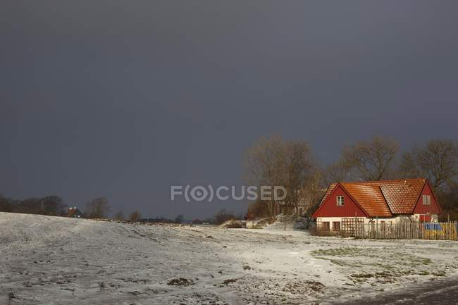 Snowy field and house view — Stock Photo