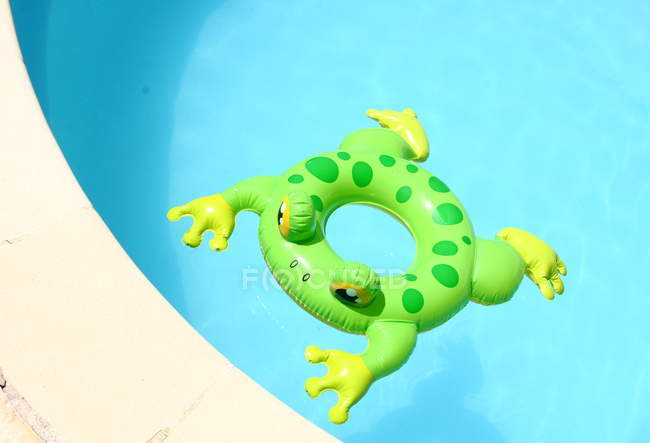 Swimming pool and green inflatable toad — Stock Photo