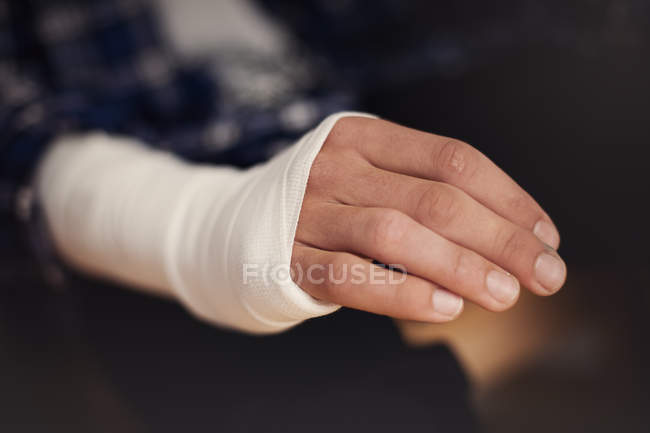 Close-up view of hand in bandage — Stock Photo
