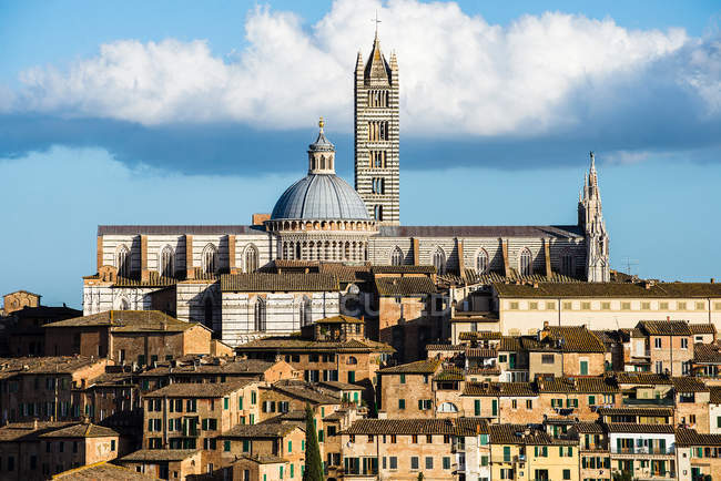 Aerial cityscape of Siena old town. Tuscany, italy — Stock Photo