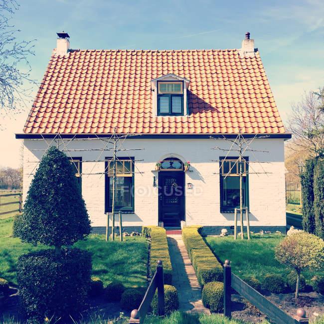 Pequeño independiente exterior de casa con césped y decorativo corta las plantas - foto de stock