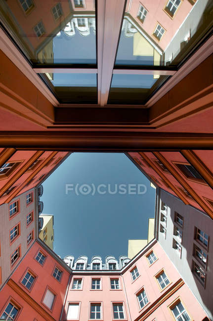 Bottom view on residential house Exterior shot, Facade with Window panes, Berlin — Stock Photo