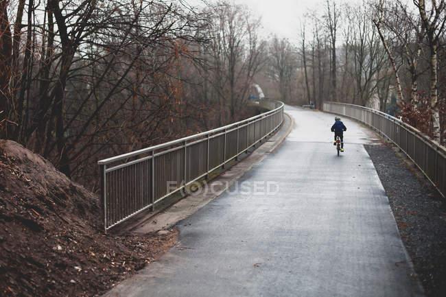 Малыш, езда на велосипеде на желчи в парке — стоковое фото