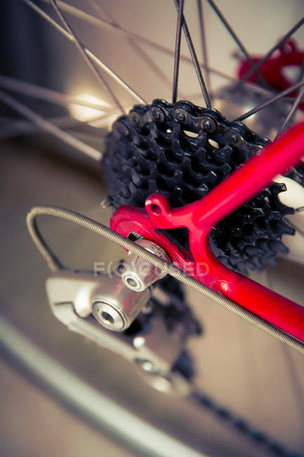 Closeup view of bicycle gear shift on wheel — Stock Photo