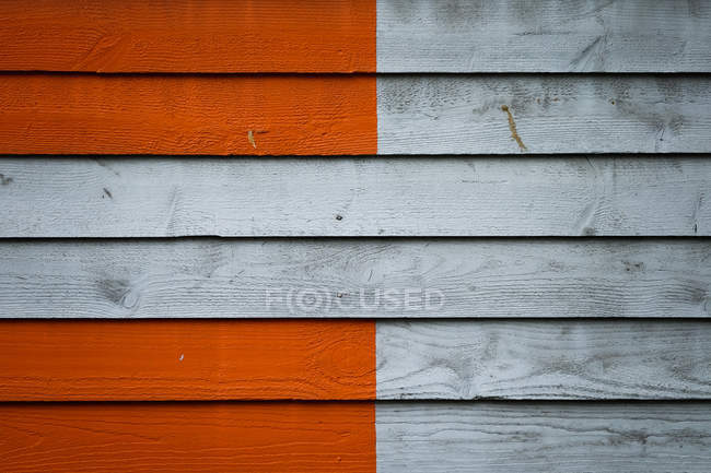 View of wooden wall painted by orange — Stock Photo