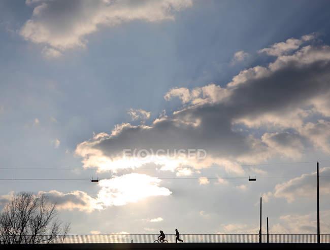 Мост с велосипедиста на велосипеде и работает человек — стоковое фото