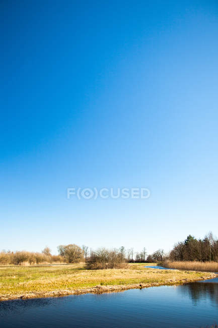 Field and lake view — Stock Photo
