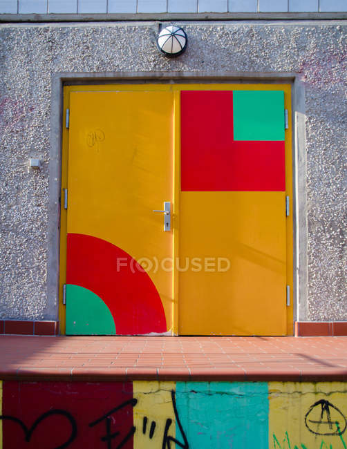 Front view of colorful entrance door — Stock Photo