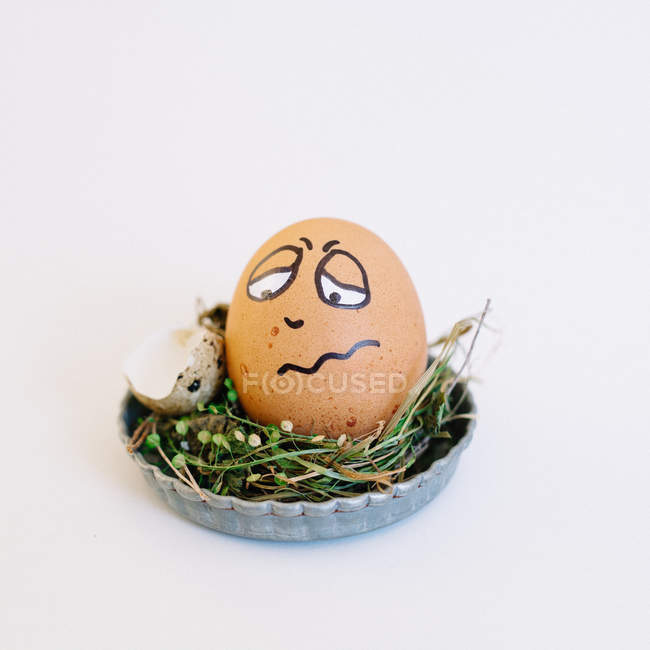 Egg with funny drawing face — Stock Photo