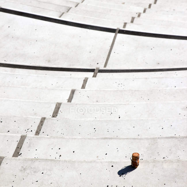Cropped view of urban street staircase with bottle cork — Stock Photo
