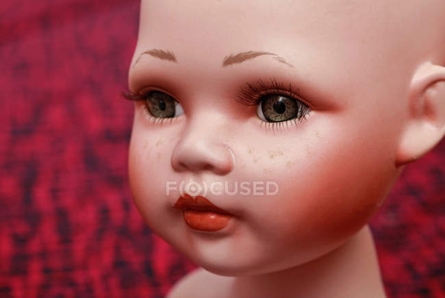 Plastic doll toy face, close up — Stock Photo