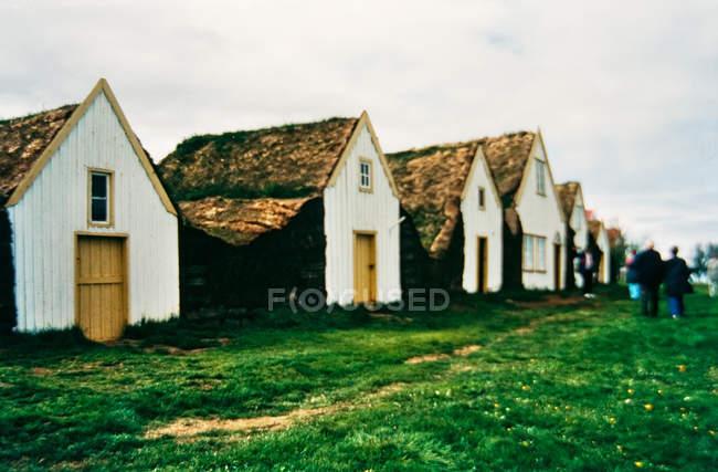 Ряд окремих будинках в ісландських село і люди, що йдуть на траві — стокове фото