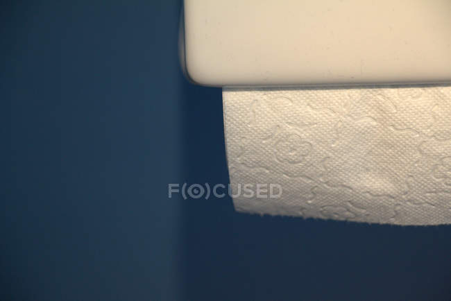 Closeup view of toilet paper holder with white paper sheet — Stock Photo