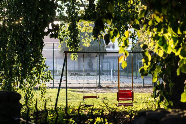 Balanço vazio playground sob galhos de árvores — Fotografia de Stock