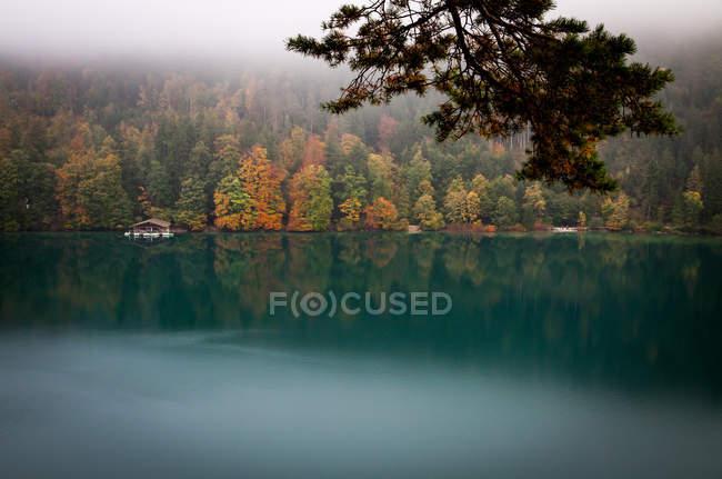 Пейзаж с видом на озеро — стоковое фото