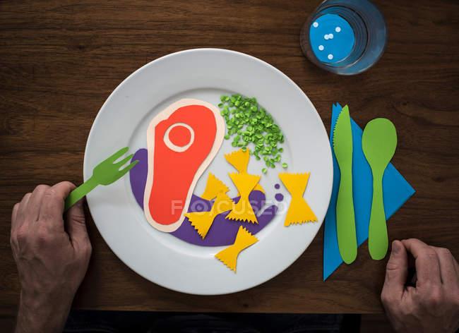 Папір склад продуктів харчування на пластини — стокове фото