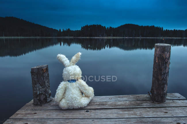 Toy bunny sitting on a pier — Stock Photo