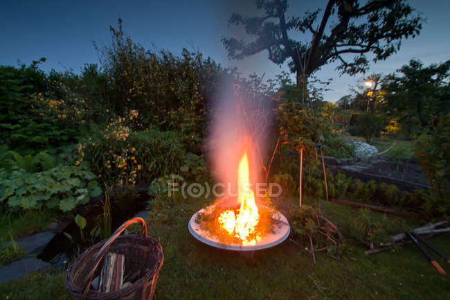 Burning camp fire in garden at dusk — Stock Photo