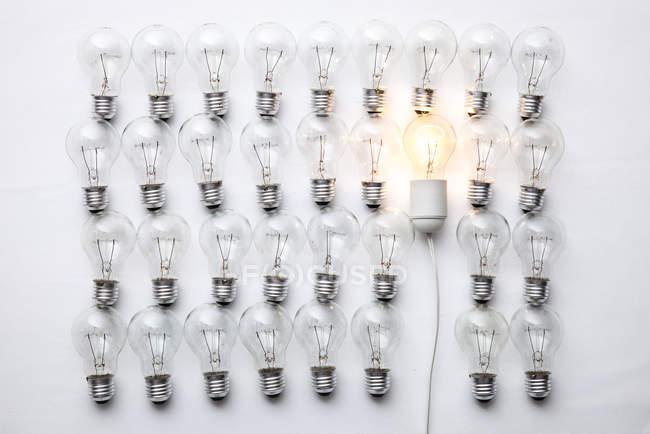 Juego de bombillas, uno que brilla intensamente - foto de stock