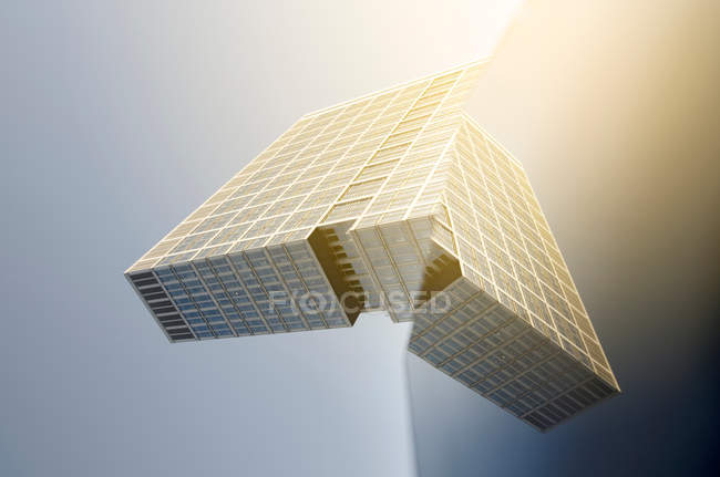 Tilted daytime view of modern building and its reflection — Stock Photo