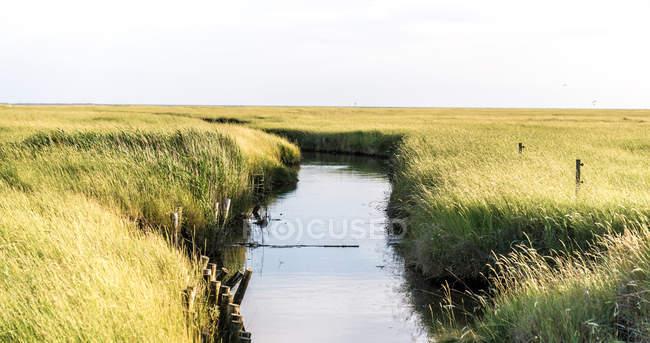 Rivière et champs de campagne automne rural — Photo de stock