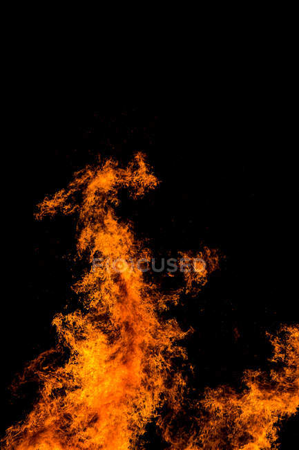 Fire burning at night — Stock Photo