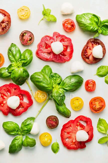 Ломтиками помидоры с зеленью на белом — стоковое фото