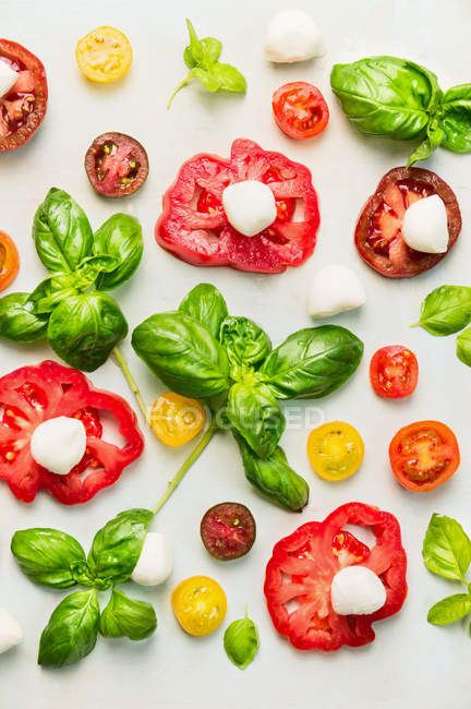 Tomatoes slices with greenery on white — Stock Photo