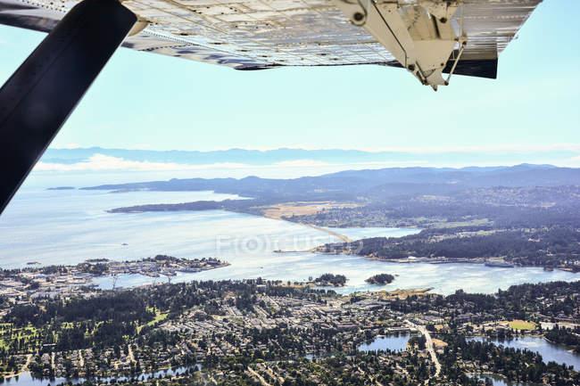 Vista aérea da ilha de Vancouver de avião — Fotografia de Stock