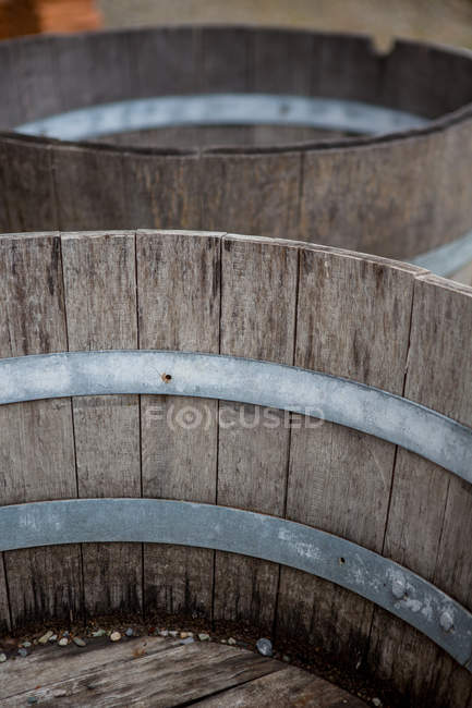Daytime elevated view of old wooden basins — Stock Photo