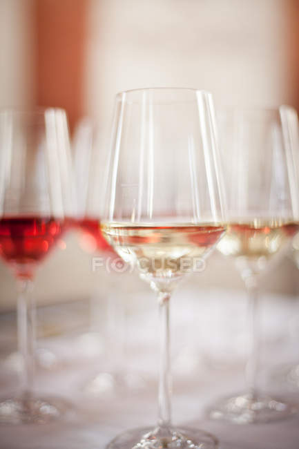 Closeup view of glasses filed with wine — Stock Photo
