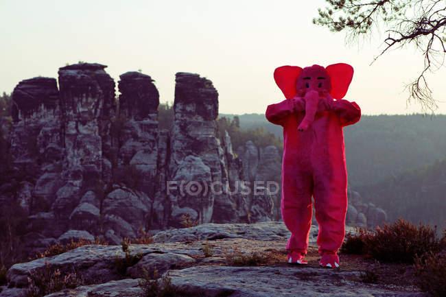 Pink elephant in wild — Stock Photo