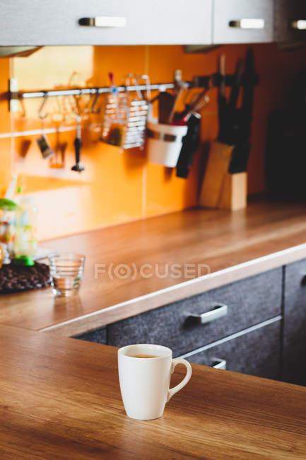 Hot coffe served in mug — Stock Photo