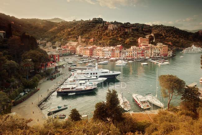 Elevated view of coastal town harbor with anchored ships and sailboats, Portofino, Italy — Stock Photo