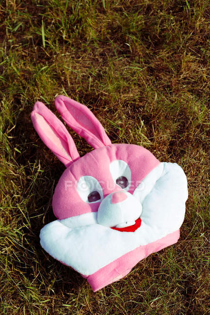 Bunny mask on the grass — Stock Photo