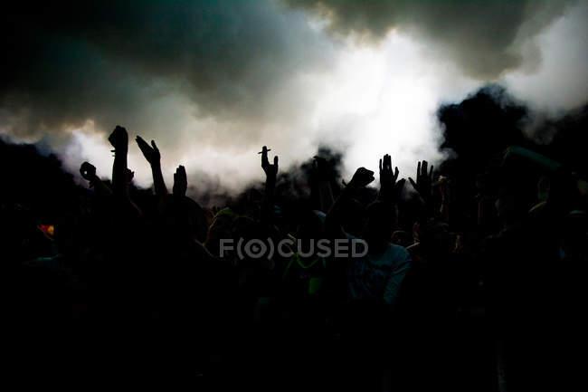 Foule de personnes dans un concert — Photo de stock