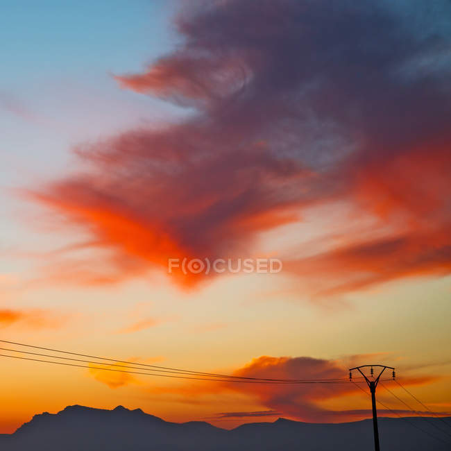 Mountain in morocco africa and red sky — Stock Photo